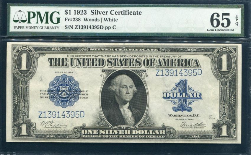 1923 SILVER DOLLAR SADDLE BLANKET LARGE NOTE PMG GEM UNCIRCULATED-65 ...
